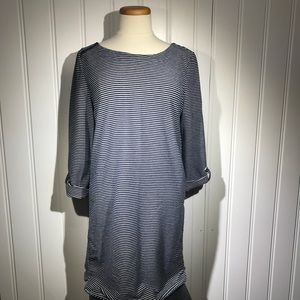 Loft Ann Taylor navy & white striped dress size m